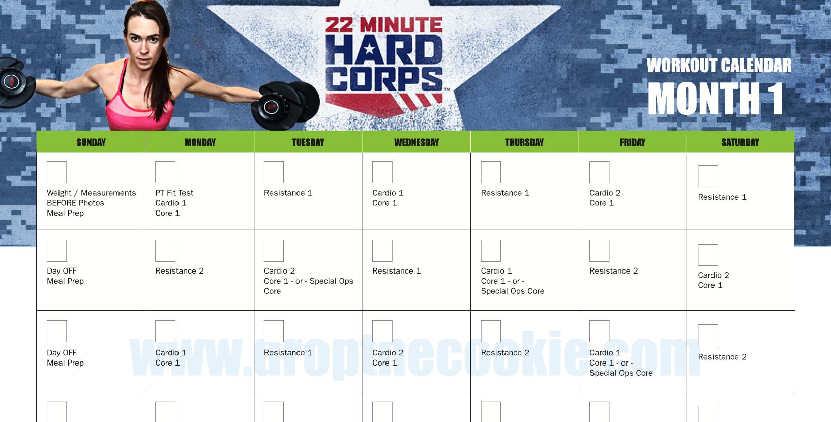 22 Minute Hard Corps Workout Calendar | Elizabeth Hartke